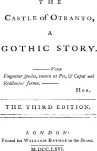 Das Titelbild der 3. Auflage von The Castle of Otranto - A Gothic Story von Horace Walpole
