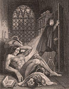 Frankenstein flieht vor seiner Kreatur
