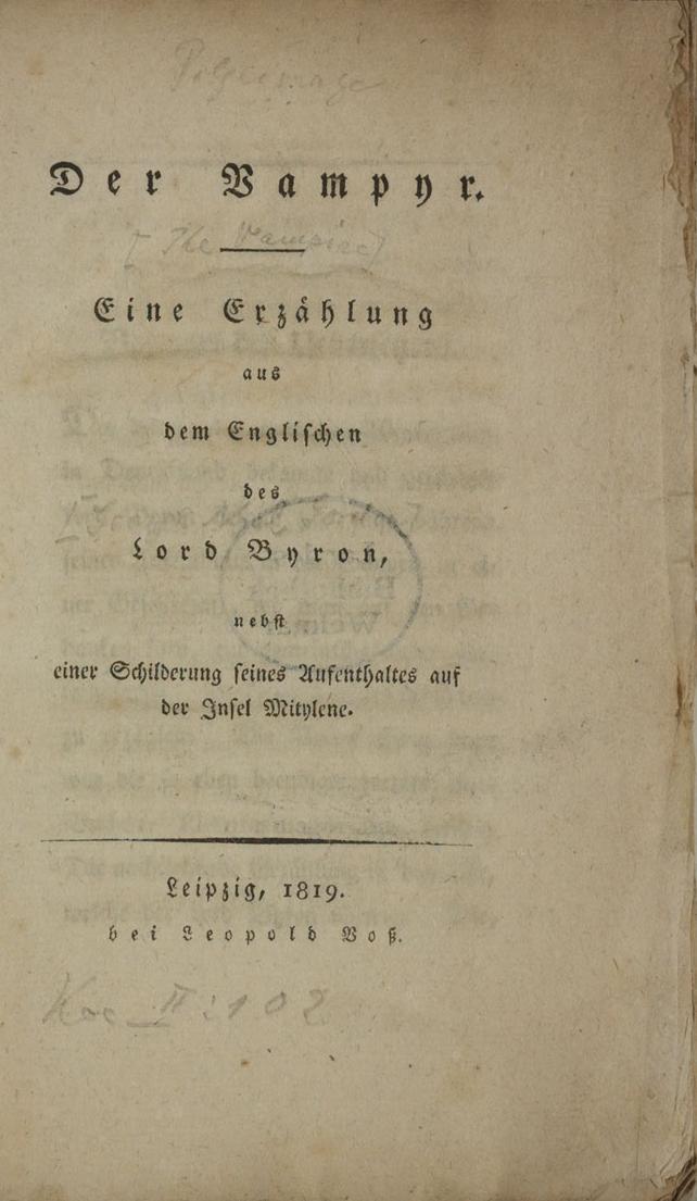 Polidori - Der Vampyr, deutschsprachige Erstausgabe, die Byron als Autor aufführt