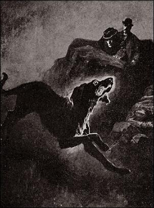 Sherlock Holmes und Dr. Watson beobachten den Hund von Baskerville